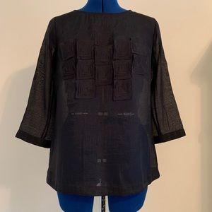 Nic+Zoe black sheer top size M, 3/4 sleeve